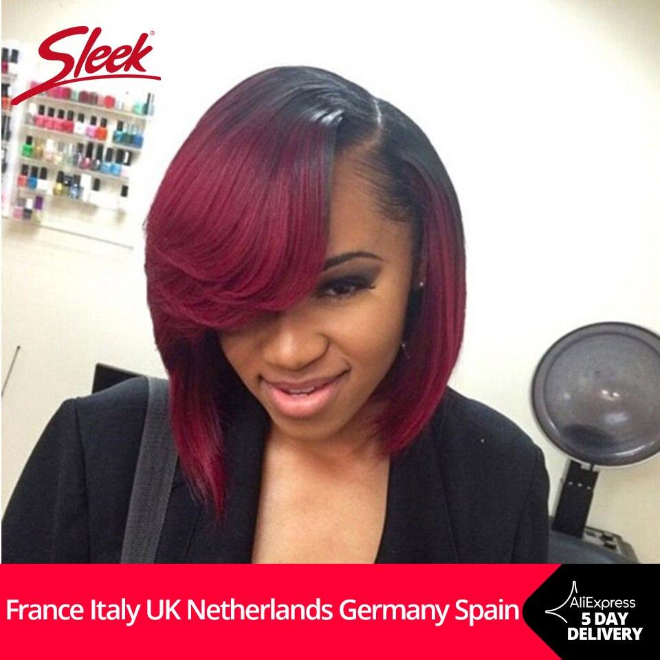 Sleek Lace Bob Wigs With Bang Lace Human Hair Wigs For Women Brazilian Straight Bob Human Hair Wig Ombre Wig Free Shipping